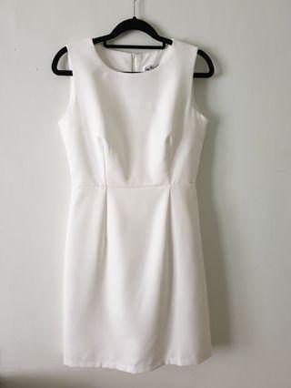 簡約白色氣質無袖圓領背心雪紡洋裝