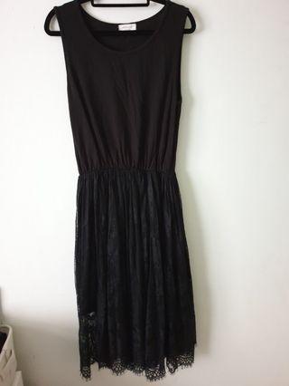 韓 棉質背心拼接黑色睫毛蕾絲長裙連身洋裝