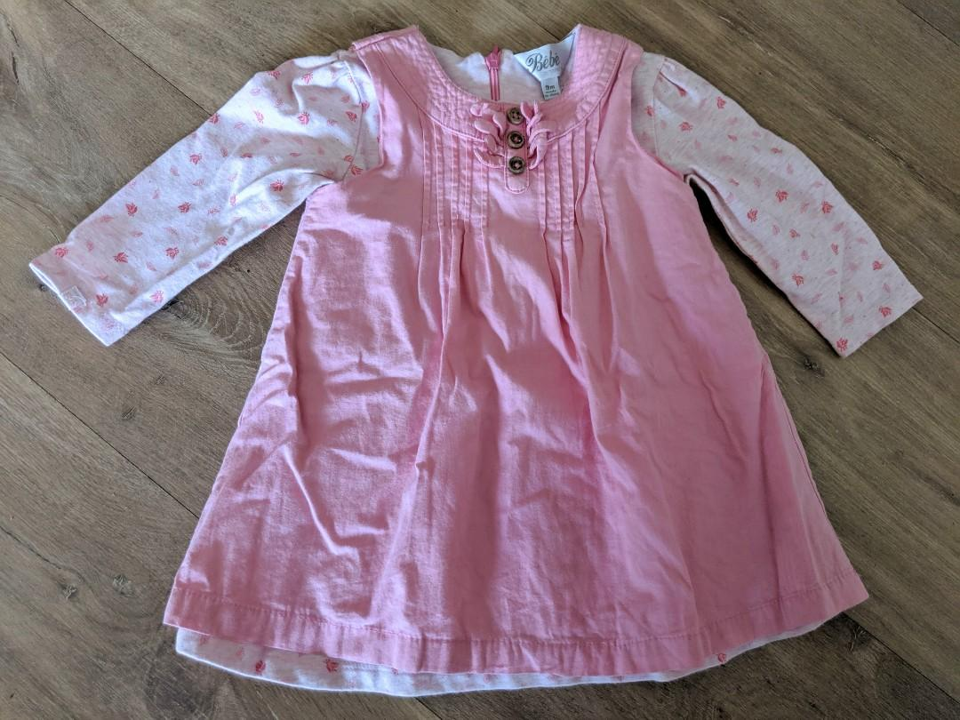 Beautiful BeBe Baby Girl Pink Cotton Dress Size 0 (9 months)