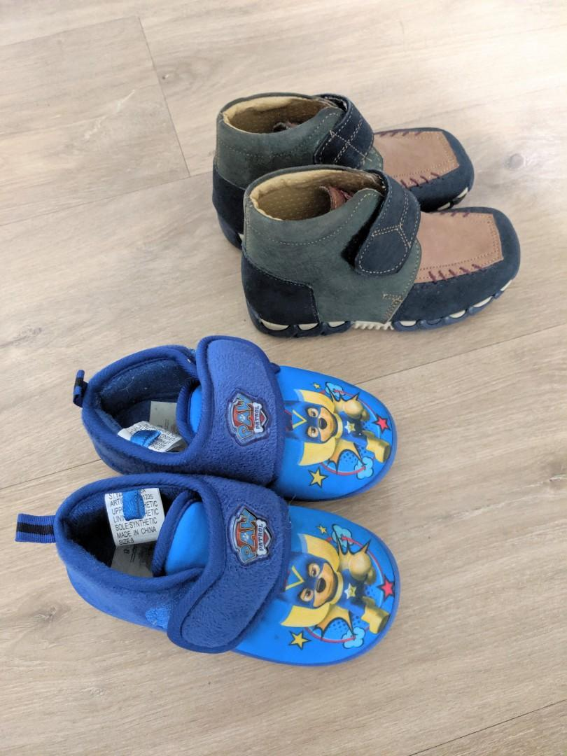 Boys Leather Shoes Size 25 and Paw Patrol Slippers Size 8