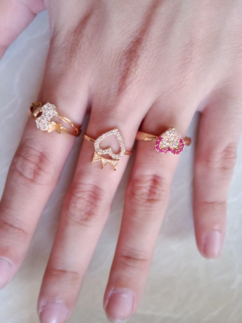 Cincin emas love mahkota (jari tengah)