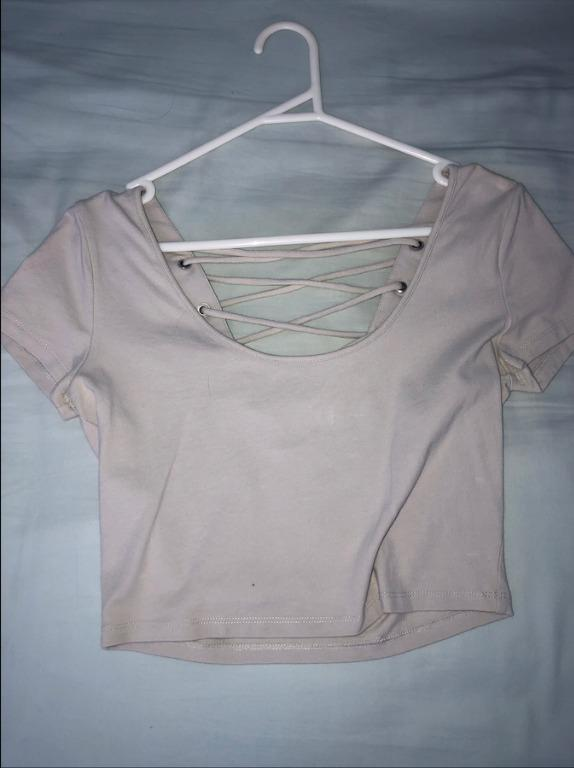 """Forever 21 Light Grey Crop Top with Back """"Lace"""" Detailing"""