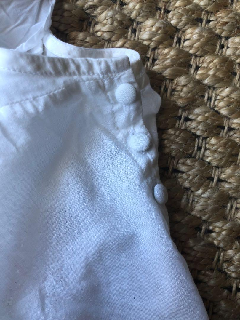 Gorman organic cotton white pintuck and frill top size 1