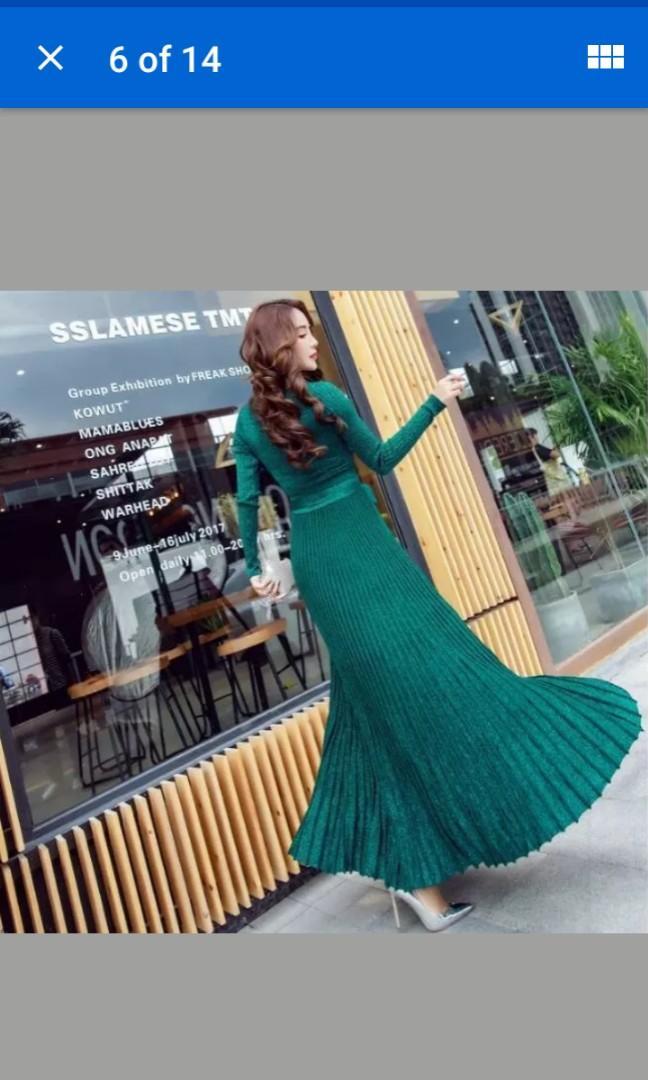 GREEN glitter Women's Deep V-Collar A-Line Cardigan Sweater Dress Shirt Flare full length skirt ribbed Maxi Long #SwapCA
