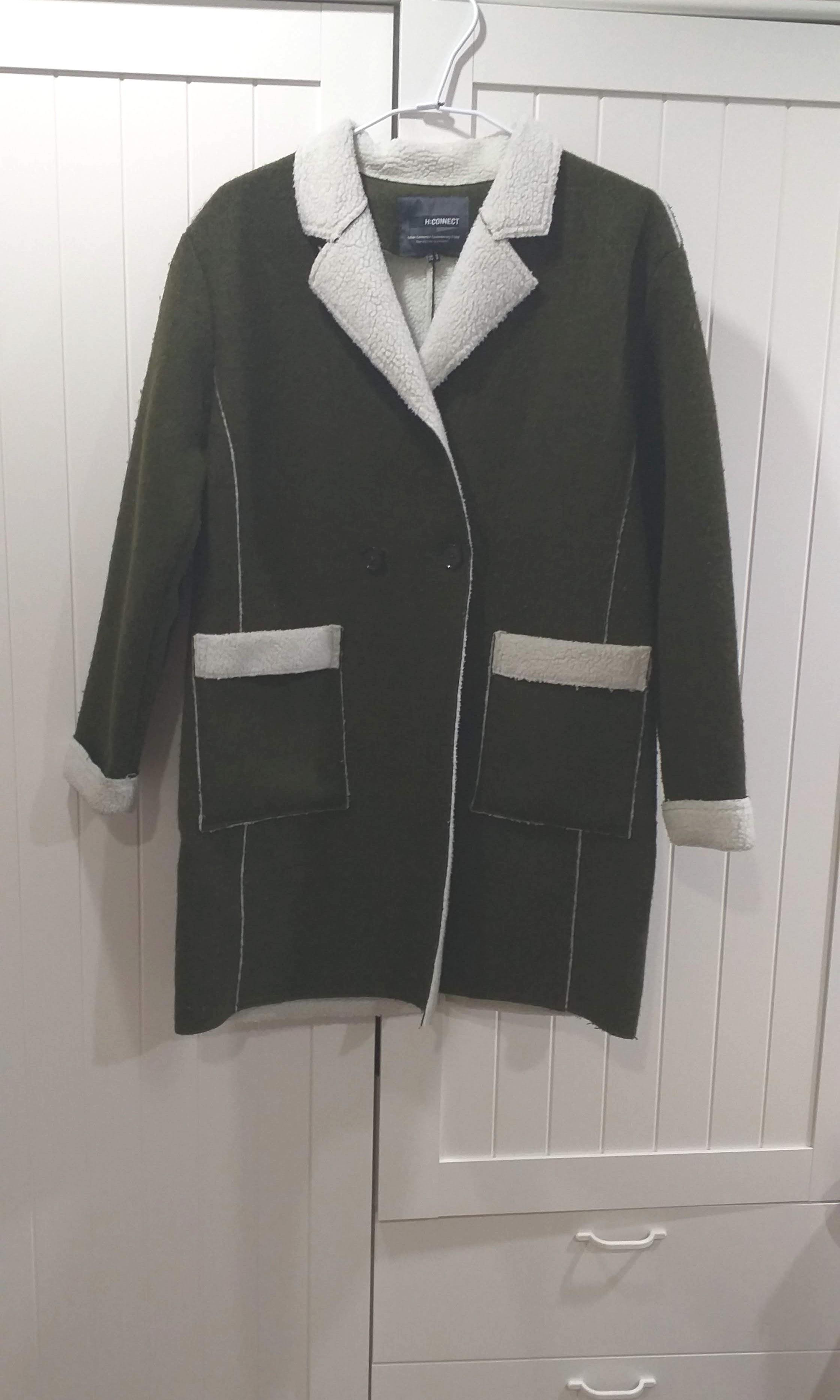 H:CONNECT軍綠色21%羊毛大衣
