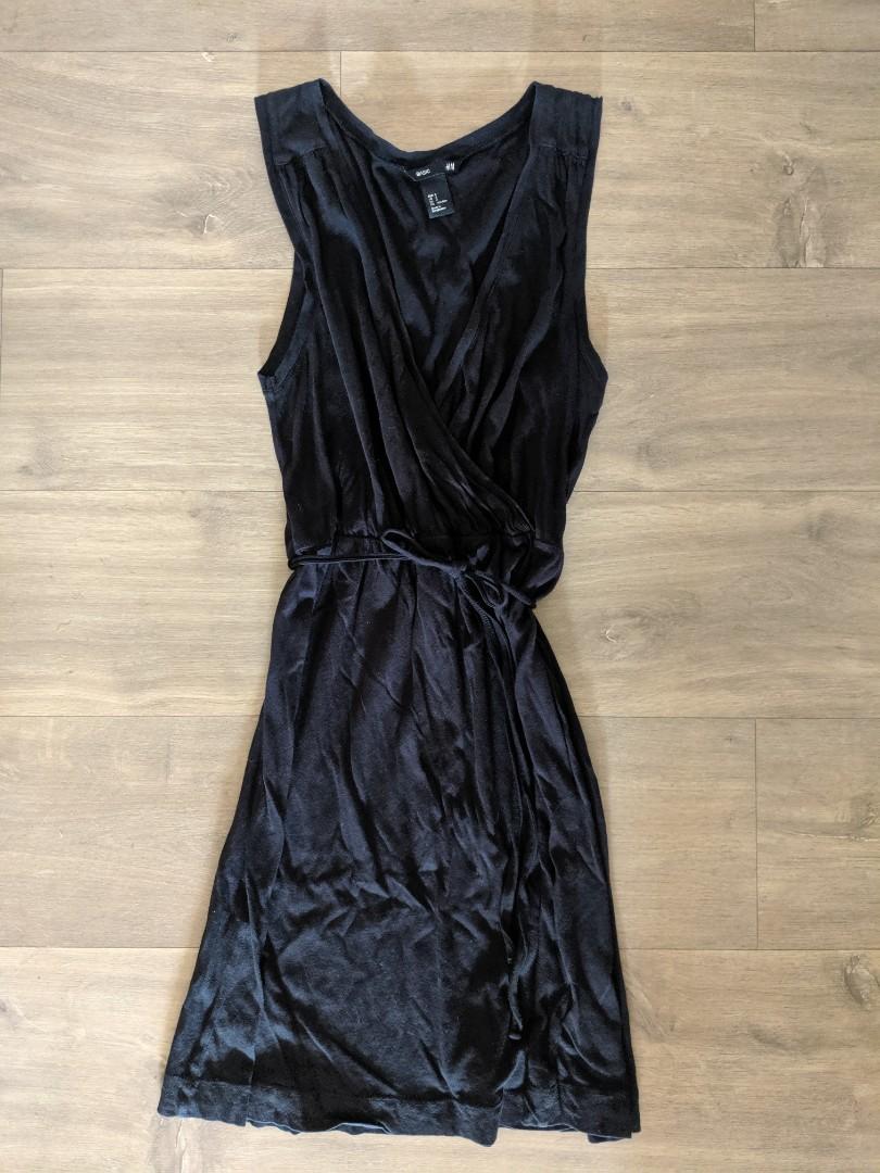 H&M Maternity Breastfeeding Nursing Black Cotton Dress Size S