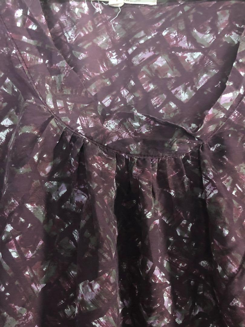 Lee Mathews purple print silk cotton shirt sleeve tunic top or dress in size 1