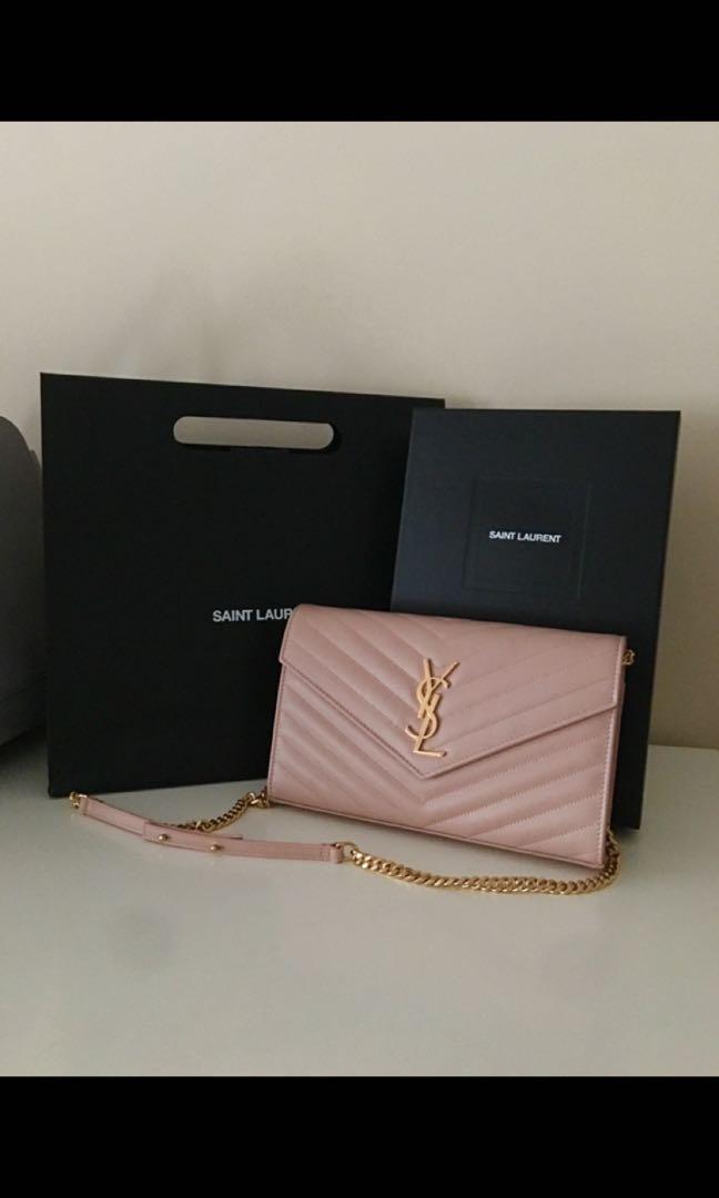 New Saint Laurent medium wallet on chain in blush pink