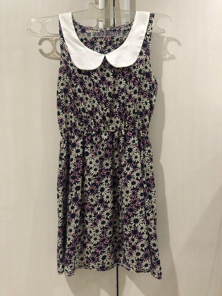 Purple Floral Mini Dress (Un-Worn) Fit XS-S