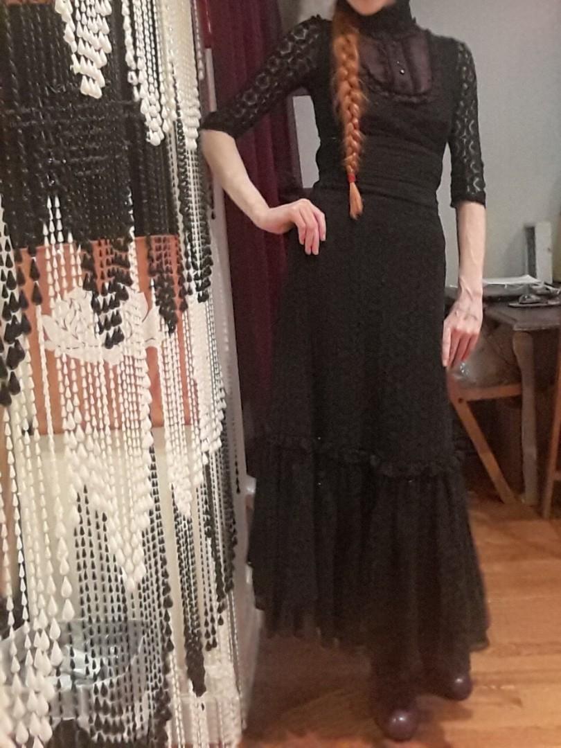 Rare Lip Service vintage 90s tomorrow's parties black purple crochet blouse Victorian lolita #SwapCA