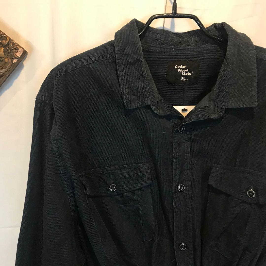古著深藍色燈芯絨+格紋補丁remake短版襯衫