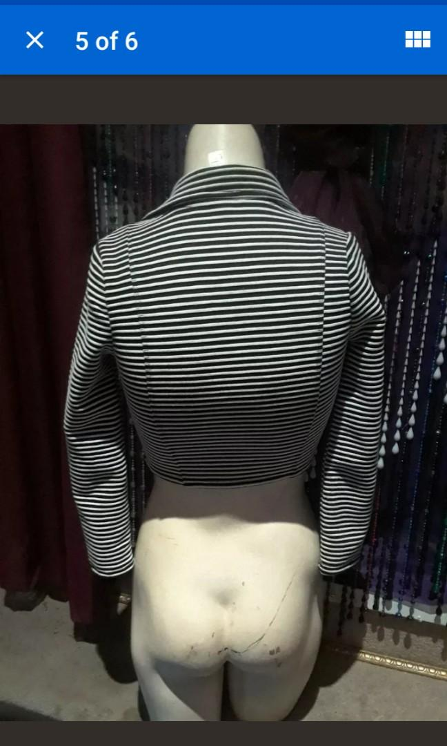 Retro stretch sexy crop top stripes beetlejuice punk nightmare jail costume collar zip S/XS  #SwapCA