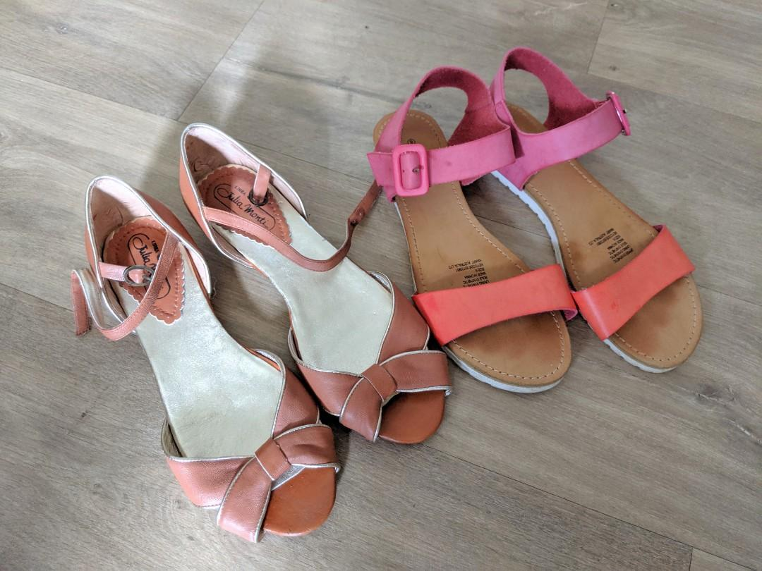 Size 40 / 9 New Full Leather Tan Sandals Shoes from Italy