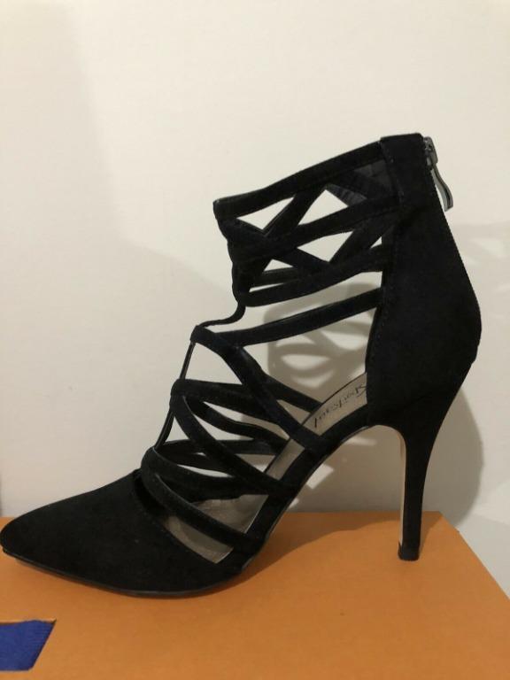 SPORTSGIRL Pointed Fashion Cage Heels Black - Size 7