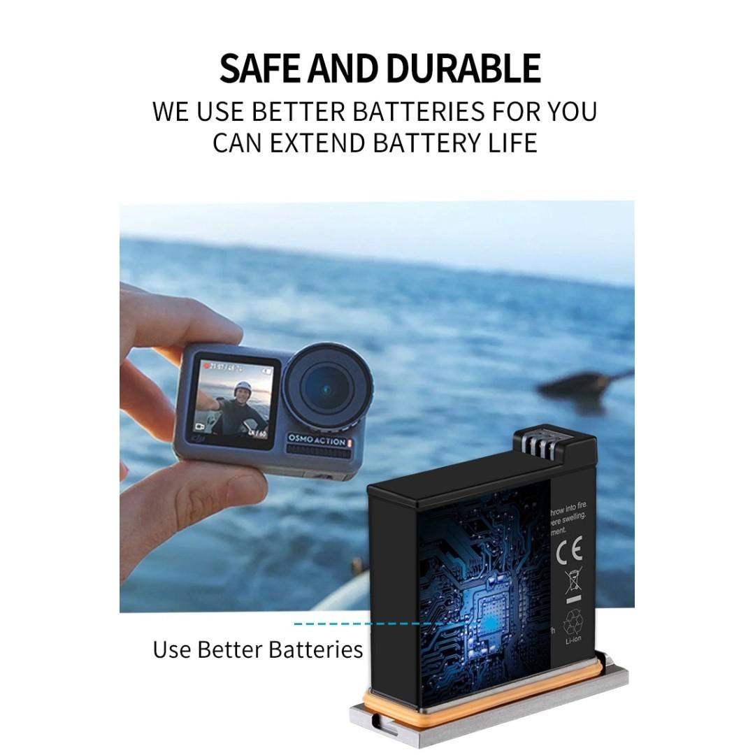 TELESIN DJI Osmo Action Battery Pack Replacement Li-ion Battery 3.85V 1300mAh