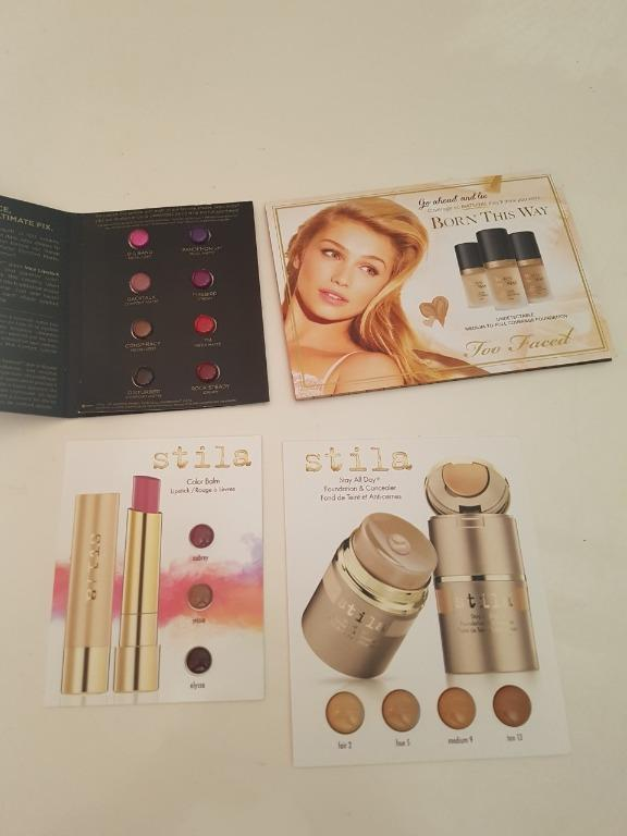 Too Faced. Stila and Urban Decay Foundation and Lipstick Sample cards