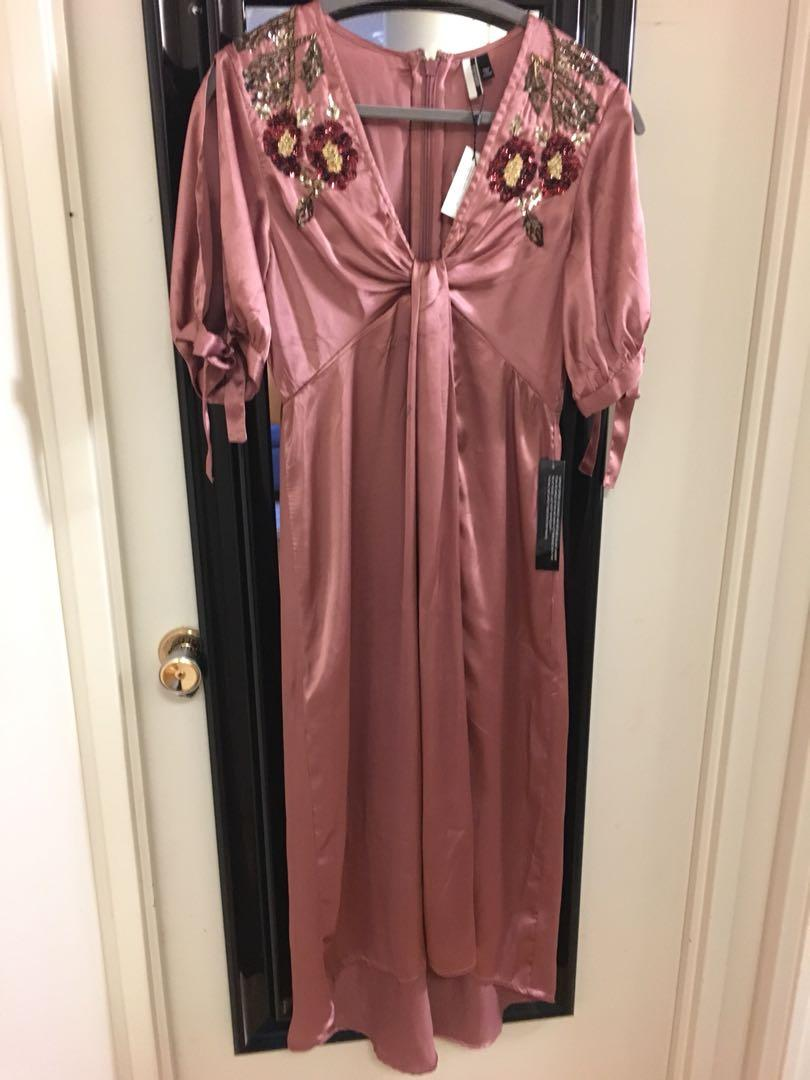 Topshop Silk and sequins dress with slit M or size 6