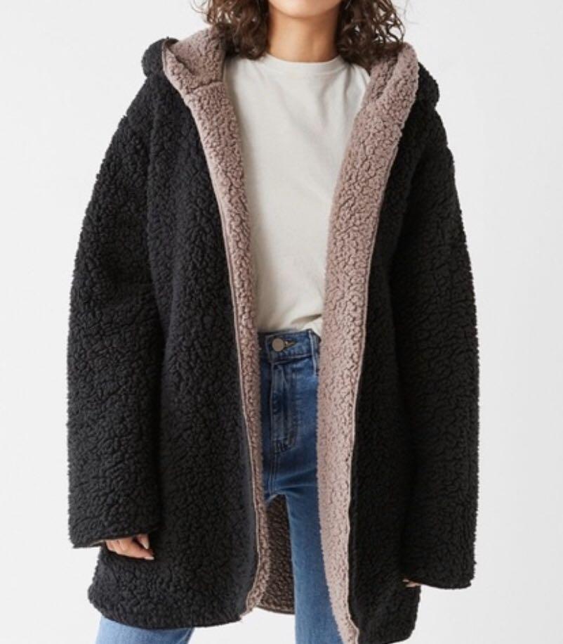 UO BDG Carmella Reversible Hooded Teddy Jacket, Size XS/S