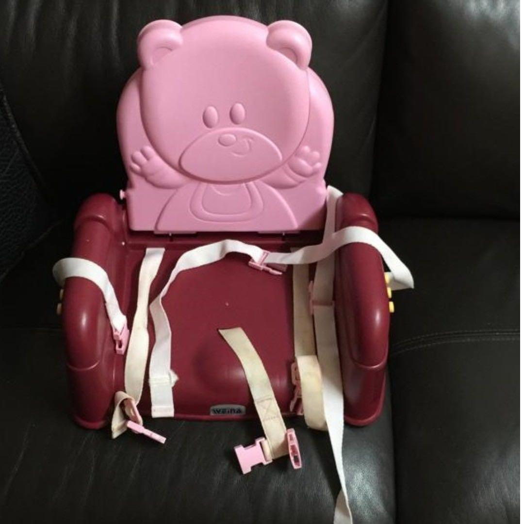 Weina BB chair dinning chair 餐椅 BB 凳 BB椅 附安全帶 粉紅熊仔 pink bear