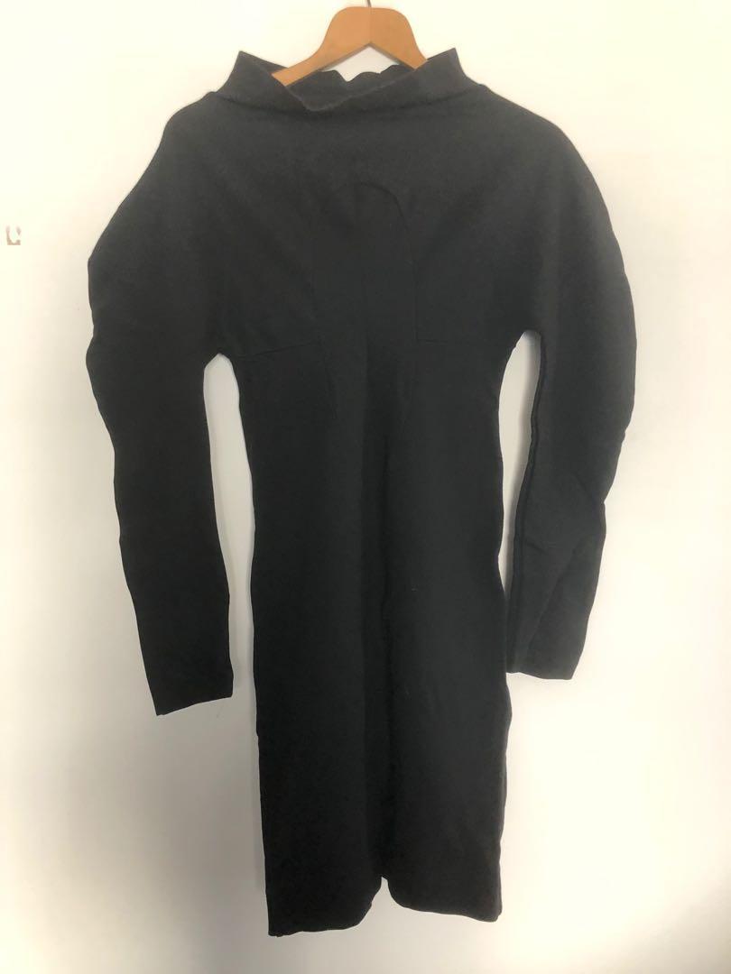 """Zambesi """"keyhole"""" black dress in stretch viscose jersey size 8"""