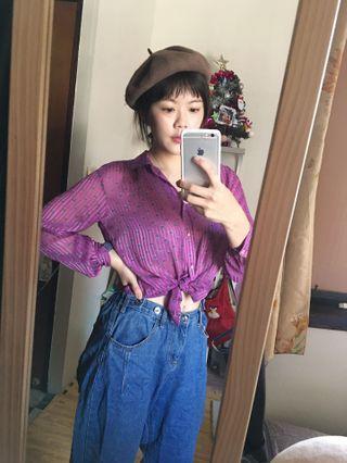 紫色透膚雪紡上衣+牛仔男友褲