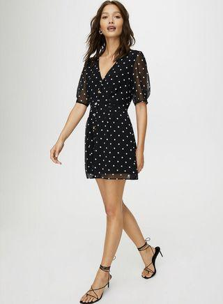 Wilfred button front dress polka dot