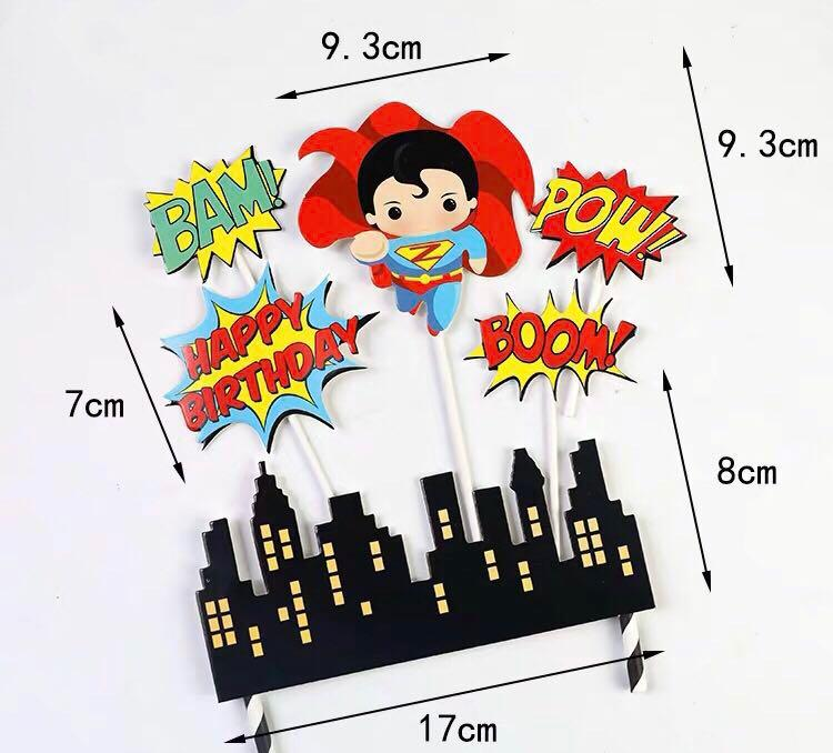 (10/8) Free normal mail -  DC Superman Hero Happy Birthday Theme Cake toppers