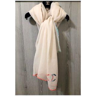 真品 CHANEL仙女級奶油杏羊毛大批巾/圍巾/披肩/頭紗