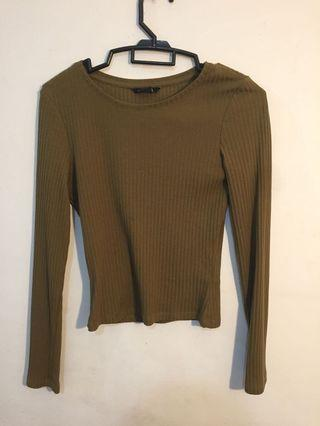 Monki Long Sleeve Army Green Top