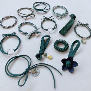 【現貨】韓版 13件組 綠色 森林系 髮帶 髮飾 髮圈 束髮 綁頭髮 橡皮筋 13件組綠色系