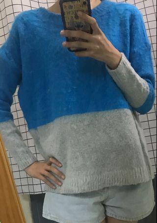 🎀全新🎀藍灰拼接上衣