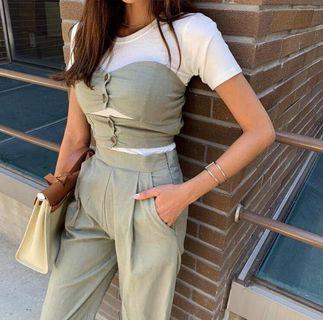 轉賣正韓crazygirls棉麻材質墨綠色休閒風格運動男友褲