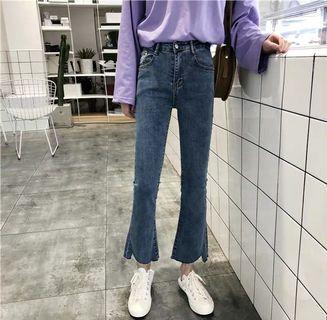 顯瘦微喇叭九分牛仔褲