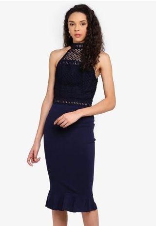 AX Paris 深藍繞脖透膚洋裝