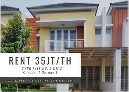Sewa Tahunan Rumah Cluster Summarecon Bekasi, 2BR Rp 35 jt/ th