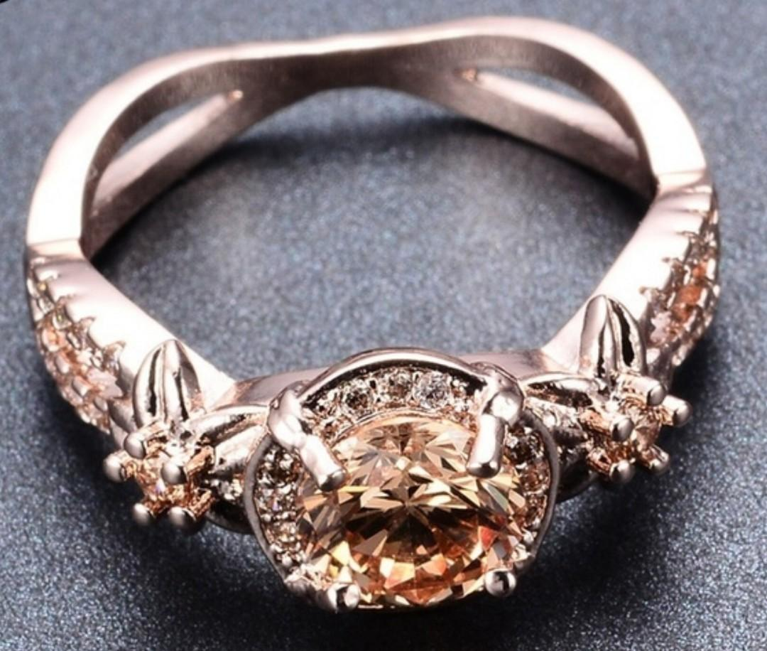 18K Rose Gold Filled Round Champagne Topaz Wedding Ring