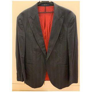 KENZO 法式深藍亞麻細紋休閒外套