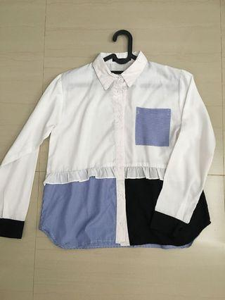 White blue stripe top