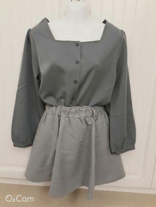 復古湖藍上衣水藍毛料短裙