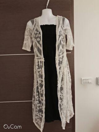 度假風黑色長洋裝蕾絲罩衫