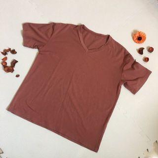 磚紅v領短袖踢恤