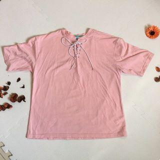 粉紅可愛綁帶T恤