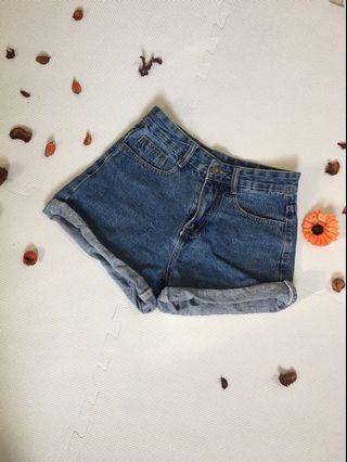 深藍反折牛仔短褲
