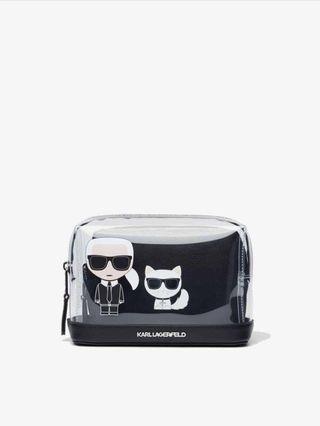 (二手)KARL LAGERFELD transparent pouch 卡爾與貓雙層透明收納包 化妝包
