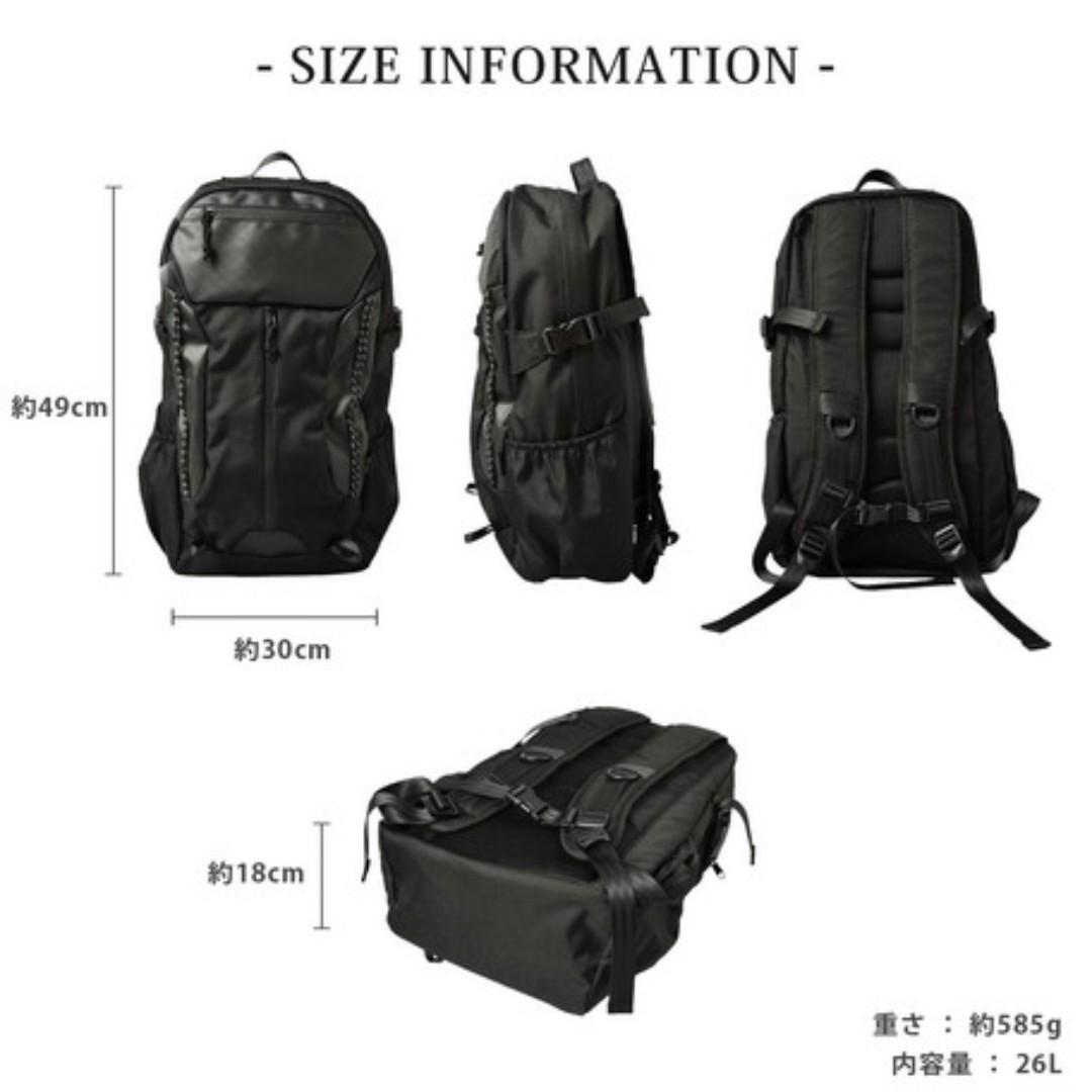 ((現貨價$358)) 日本直送 AVANT 黑色 型格 輕身 防水 書包 旅行 背囊 男女啱用 (採用耐用CORDURA質料)