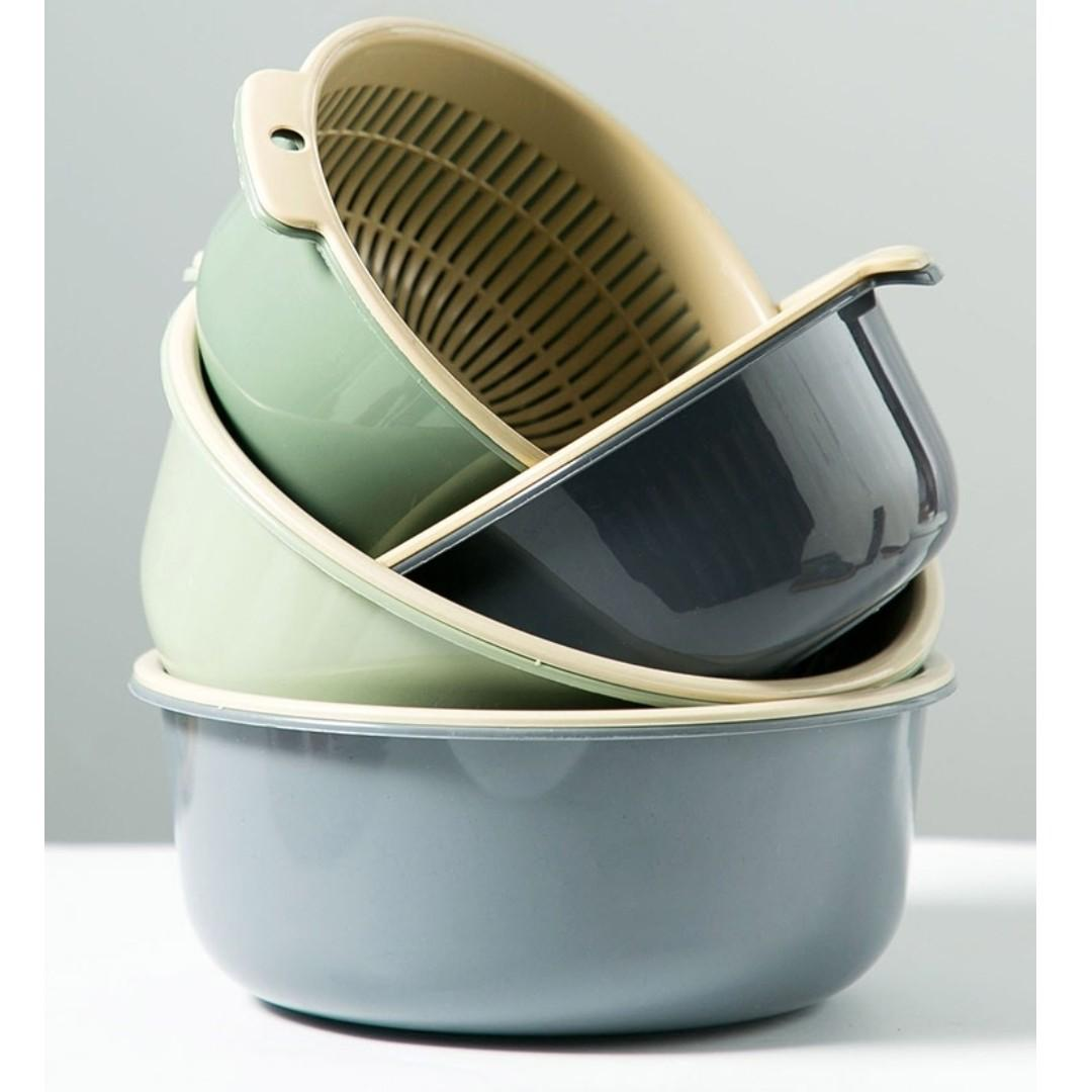 【現貨】 小款  雙層瀝水盆 鏤空 水果盆 洗水果 瀝水籃  家用水果籃 創意塑料 洗菜籃 廚房 洗菜盆