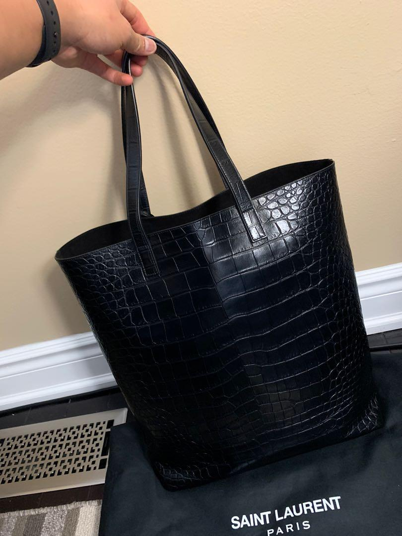 Authentic Saint Laurent Tote Bag - Crocodile Embossed Leather