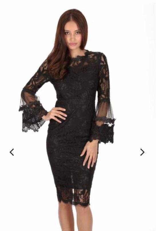 AX Paris Black Lace Frill Sleeve Midi Dress New With Tags Size 8