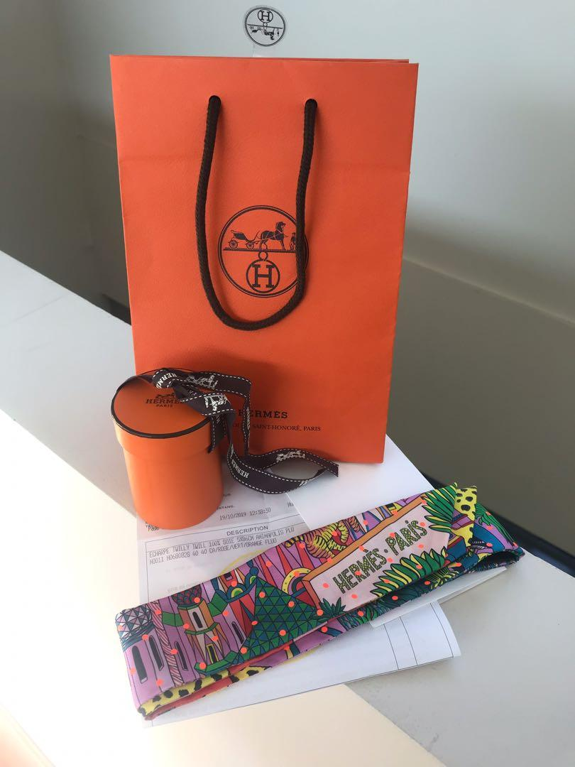 Brand New, Limited edition- Hermes Animapolis Plumetis Twilly