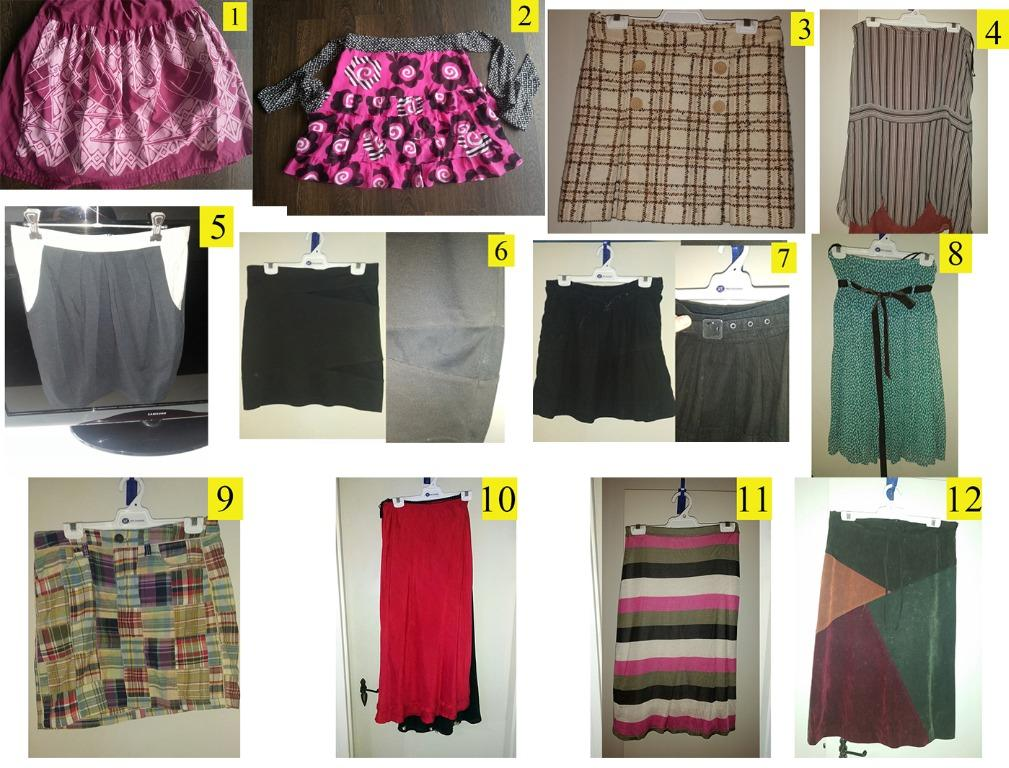 Collection of 10 designer and generic skirts - used and never worn, medium sizing